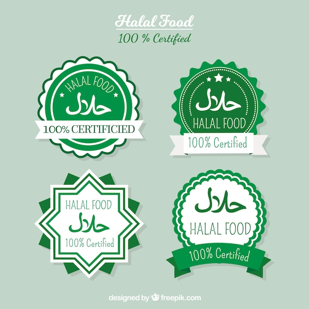 Halal food label collection with flat design Free Vector