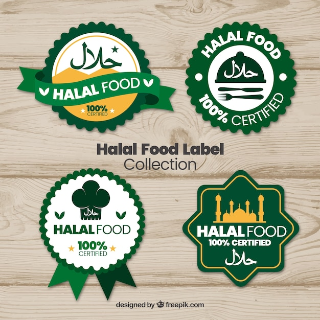 free vector halal food label collection with flat design halal food label collection with flat