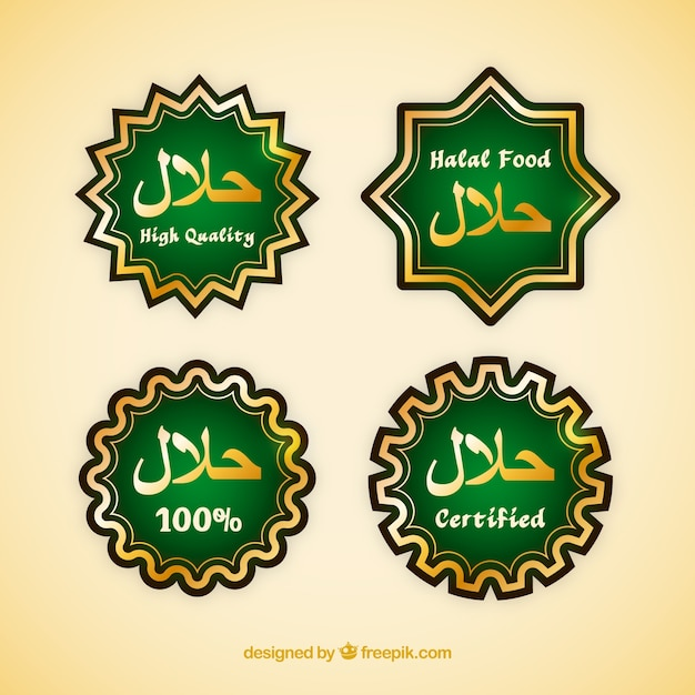 Halal food label collection with golden style Free Vector