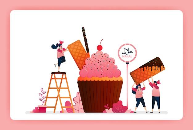 Halal food menu illustration of sweet strawberry cupcake. Premium Vector