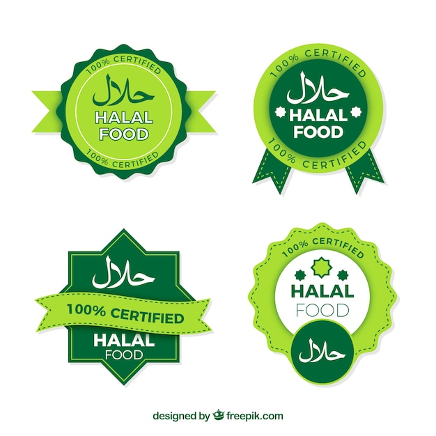 Halal stamp collection with flat design Free Vector