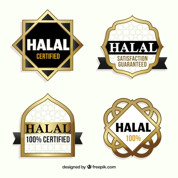 Halal stamp collection with golden style Free Vector