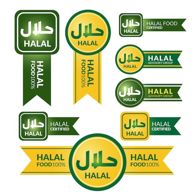 Halal tag label collection Premium Vector