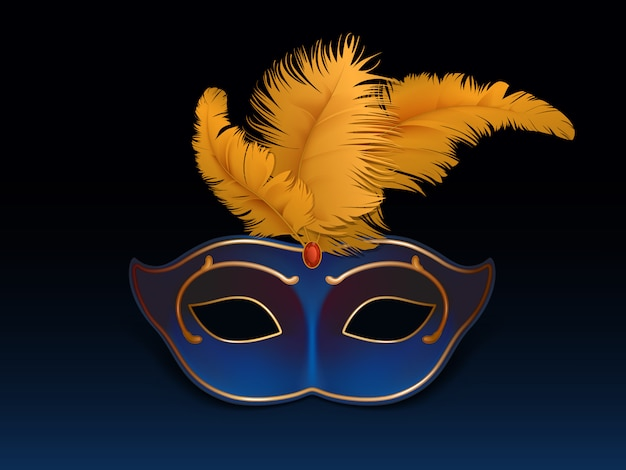 Half-face colombina mask decorated with precious stones, red ruby and colored feathers Free Vector