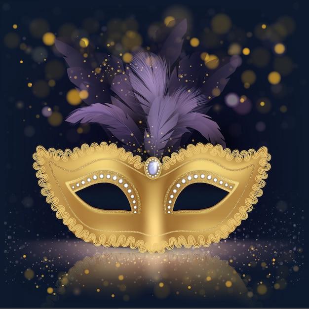 Золотистая шелковая маска для лица с фиолетовыми перьями Бесплатные векторы