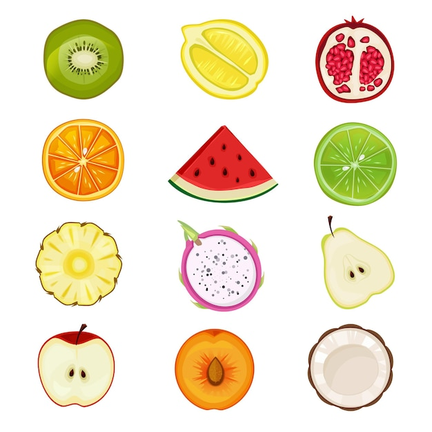 Half fruits. apricot cherry strawberries peach healthy sliced natural food icon in circle shapes set. Premium Vector