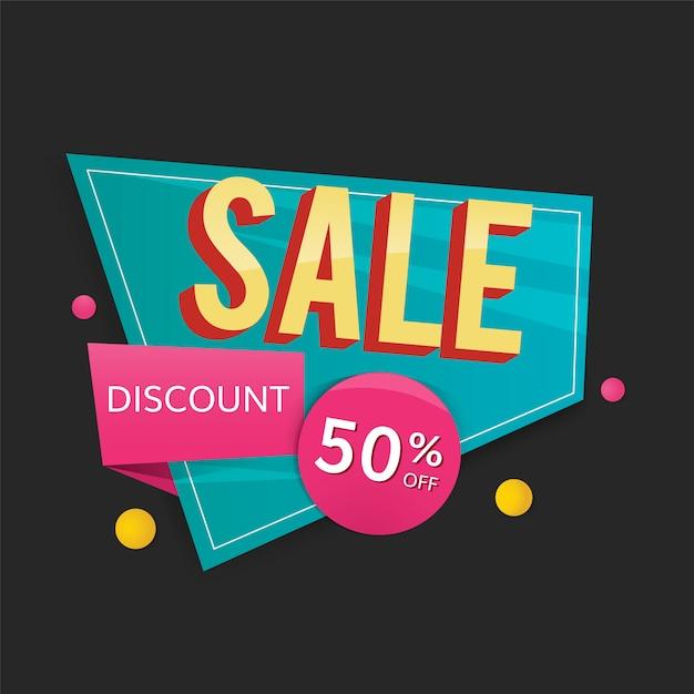 Half price sale sign Free Vector