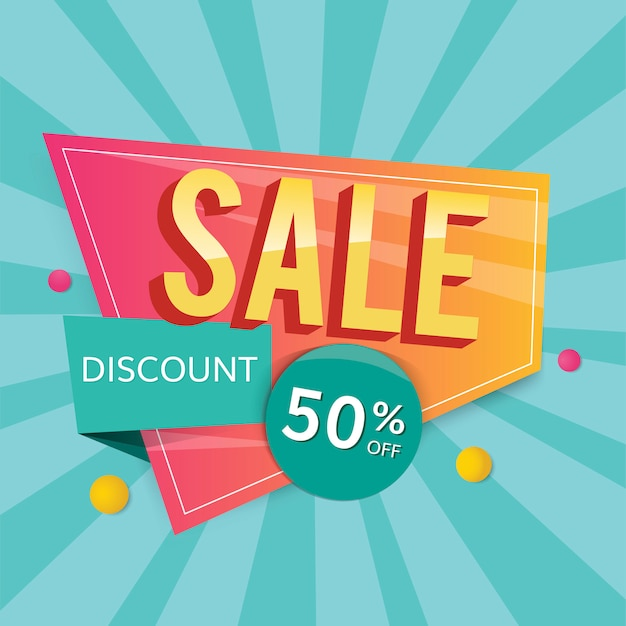 Half price sale sign Free Vector