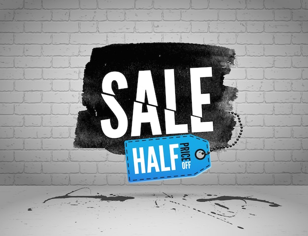 Half price sale watercolor banner with splashes of ink  on brick grunge background Premium Vector