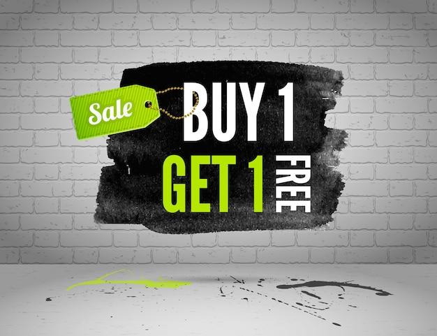 Half price sale watercolor banner with splashes of ink  on brick grunge background Premium Vector