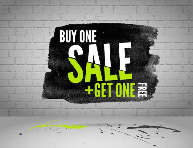 Half price sale watercolor banner with splashes of ink on white brick grunge background Premium Vector