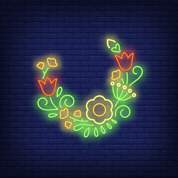 Half-round flower wreath neon sign Free Vector
