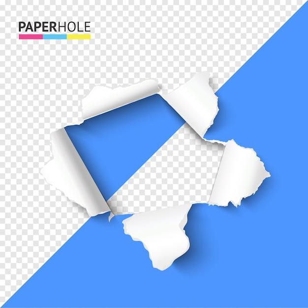 Полупрозрачная разноцветная рваная бумажная дыра с рваными краями раскрывает некое послание Premium векторы