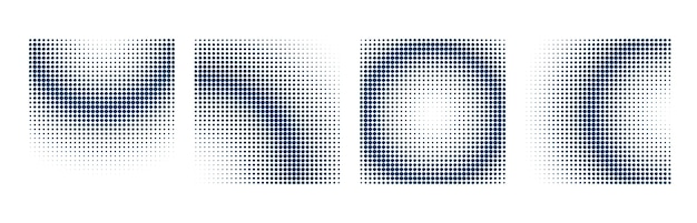 Halftone background set with square shapes Free Vector