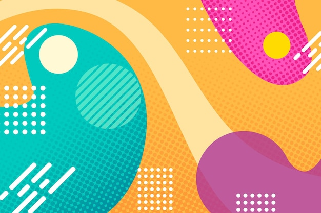 Halftone background with colourful shapes and dots Free Vector