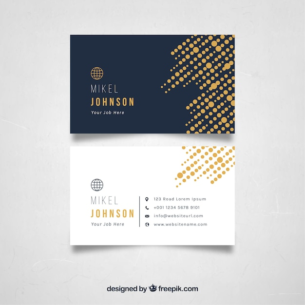 Halftone business card template Free Vector