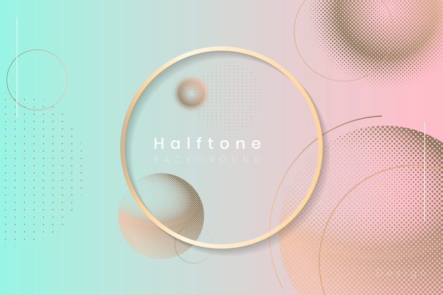 Halftone circle background frame Free Vector