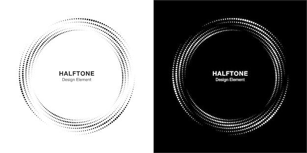 ハーフトーンサークルドットフレーム円形分散セット。 Premiumベクター