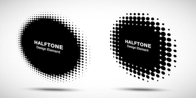 ハーフトーンサークルパースペクティブフレーム抽象的なドットロゴエンブレムデザイン要素。 Premiumベクター