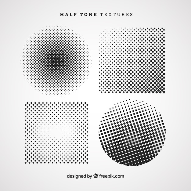 Halftone circles and squares Free Vector