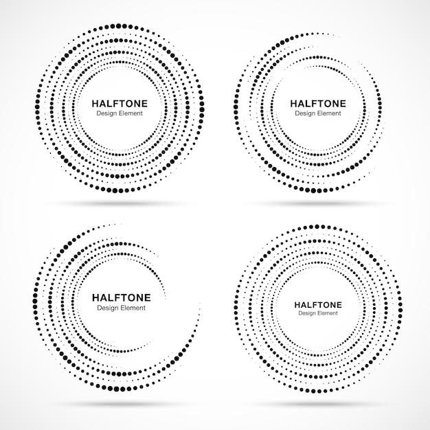ハーフトーン円形渦ドットフレームセット。 Premiumベクター