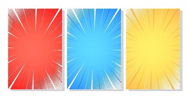 Halftone comic stripes background vector illustration Premium Vector