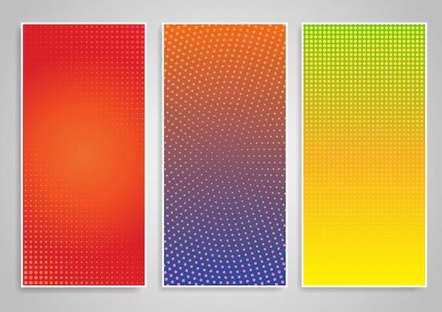 Halftone dot vertical background designs set Free Vector