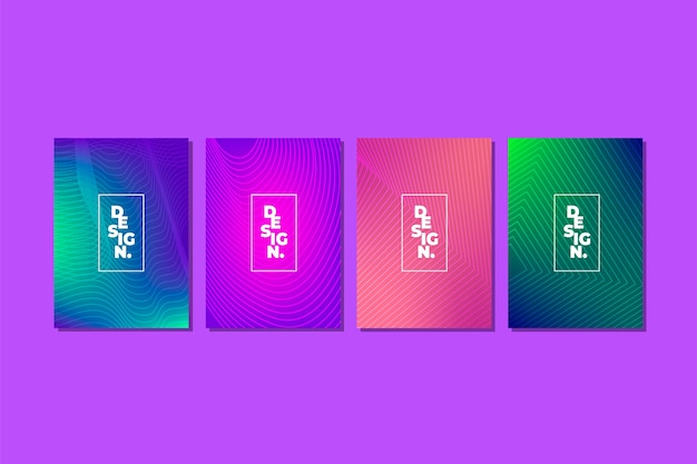 Halftone gradient cover collection concept Free Vector