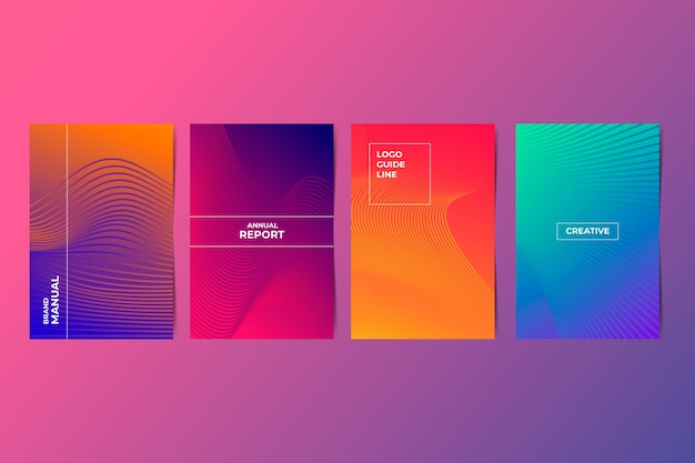 Halftone gradient cover collection Free Vector