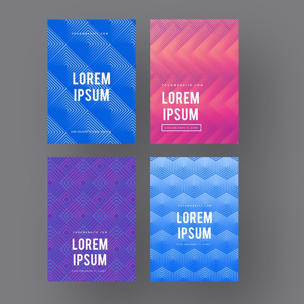 Halftone gradient with minimalist design cover collection Free Vector