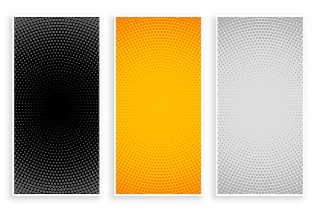 Halftone patterns set in black yellow and white colors Free Vector