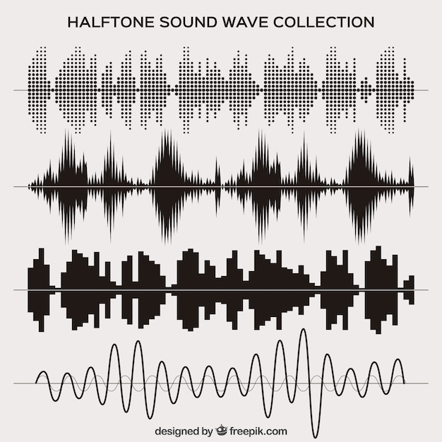 Halftone sound wave set Free Vector