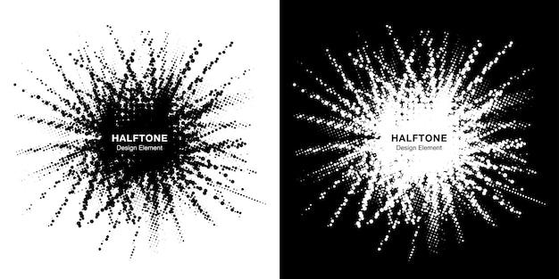 Halftone star frame set. grunge spot border using halftone circle dots raster texture. Premium Vector