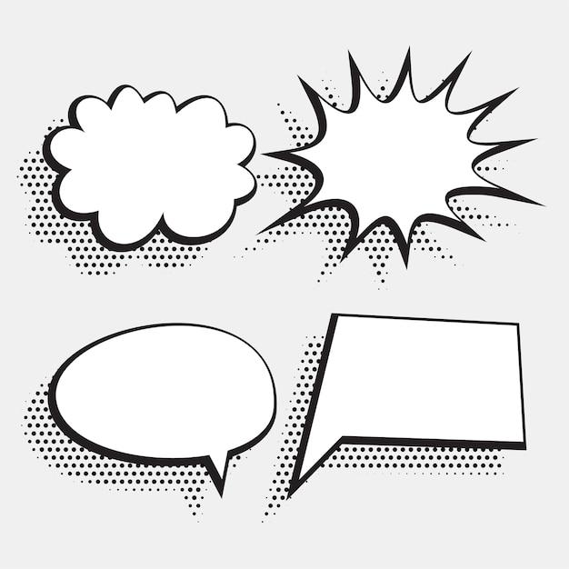하프 톤 스타일의 만화 채팅 거품 표현 흰색 무료 벡터