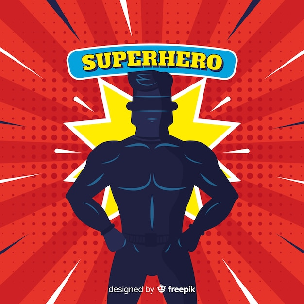 Halftone superhero background Free Vector
