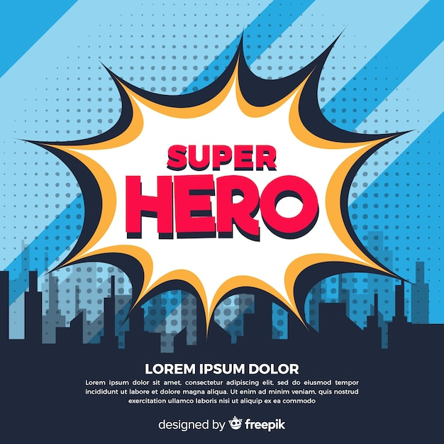 Halftone superhero background Free Vector