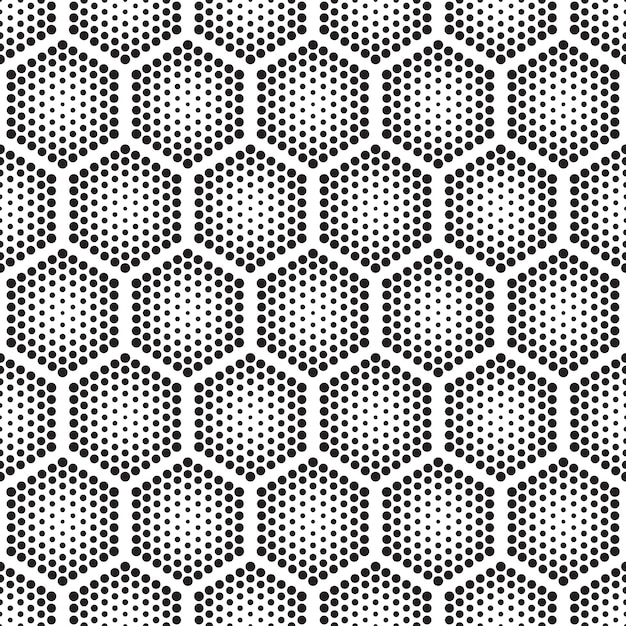 Halftone tech hexagons seamless pattern Premium Vector