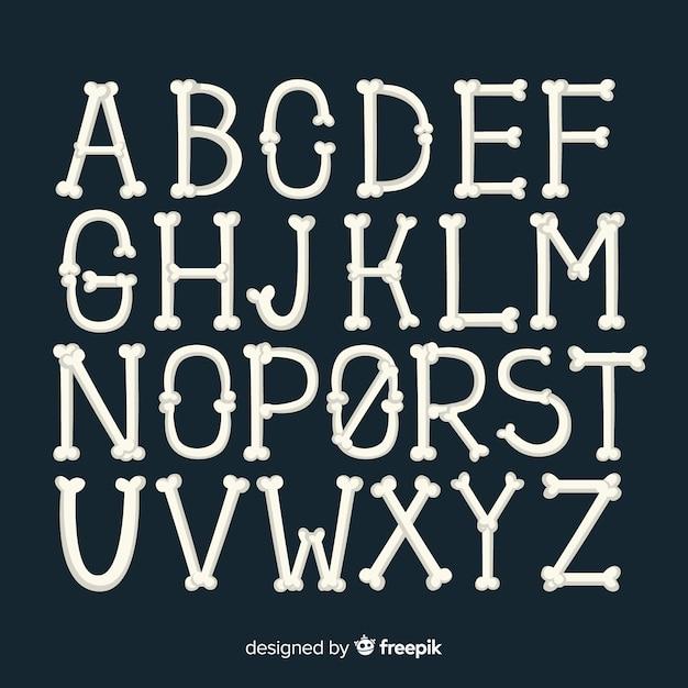Halloween alphabet background Free Vector