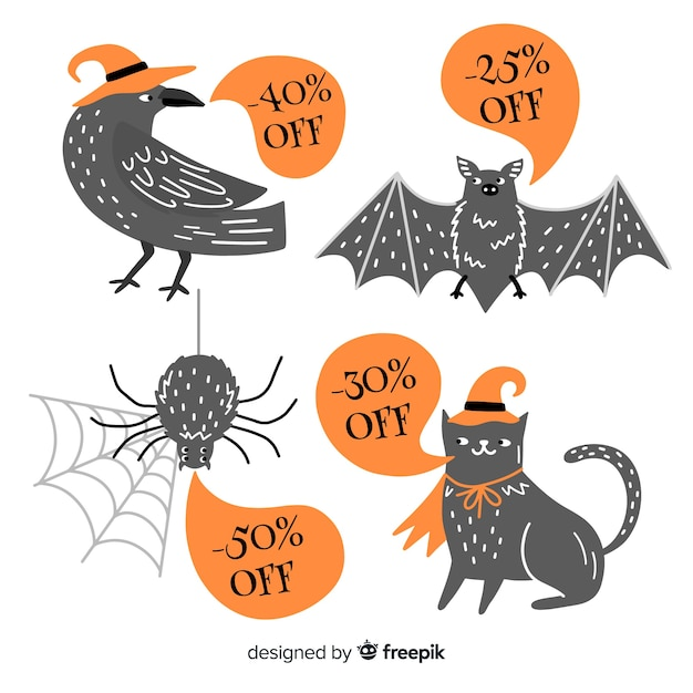 Halloween animal symbols for sales Free Vector