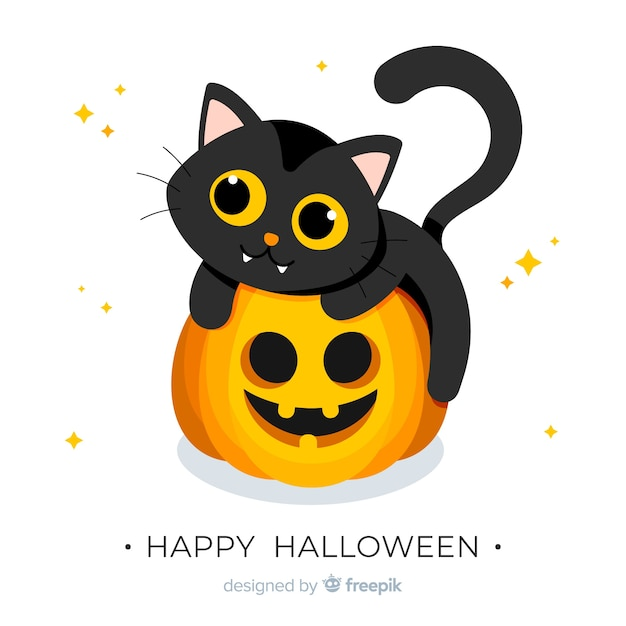 Halloween baby cat background Free Vector