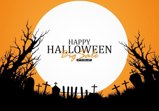 Halloween background decorated with graveyards Premium Vector