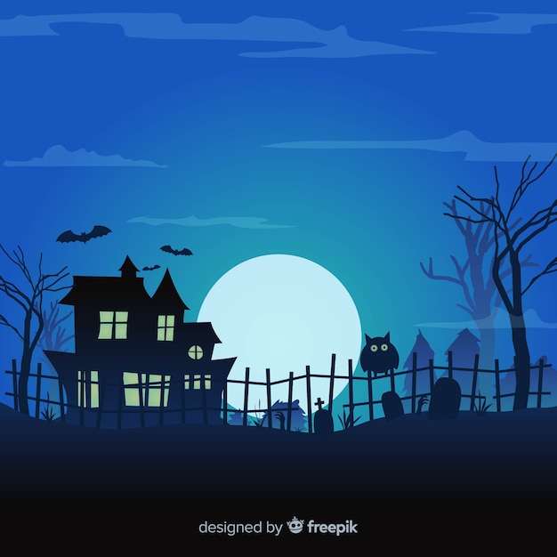 Halloween background design with haunted house and cemetery Free Vector