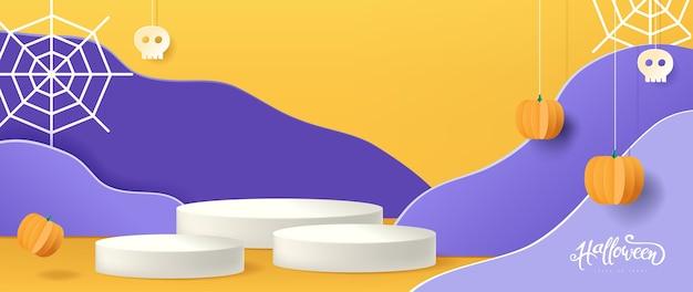 Дизайн фона хэллоуина с продуктом отображения цилиндрической формы, стиль вырезки из бумаги. Premium векторы