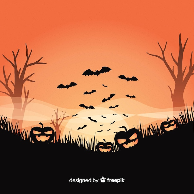 Halloween background design with spooky pumpkins Free Vector
