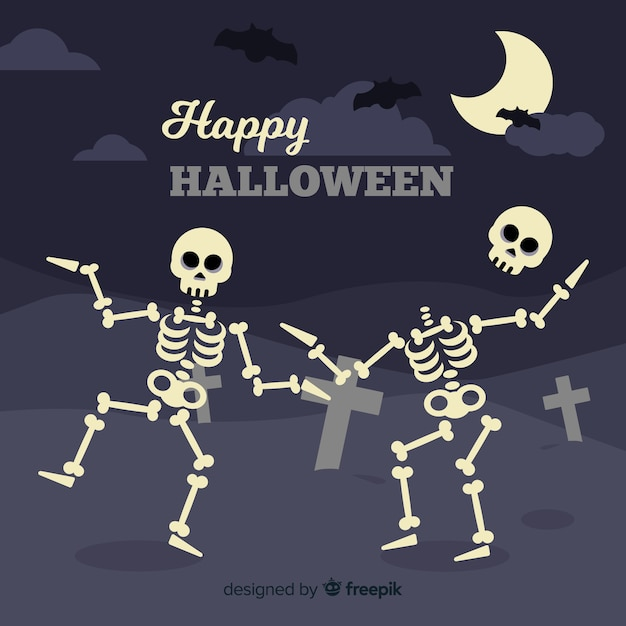 Halloween background in flat design with dancing skeletons Free Vector
