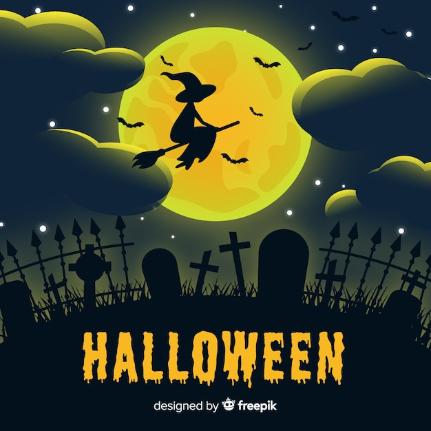 Halloween background in flat design Free Vector