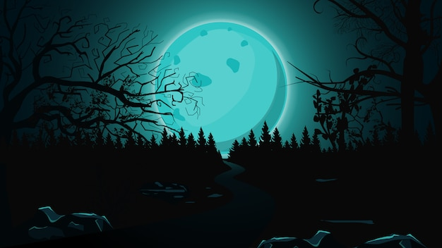 Halloween background, full blue moon, dark forest and lonely trail. Premium Vector