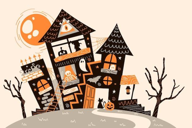 Хэллоуин фон гранж-дизайн Бесплатные векторы