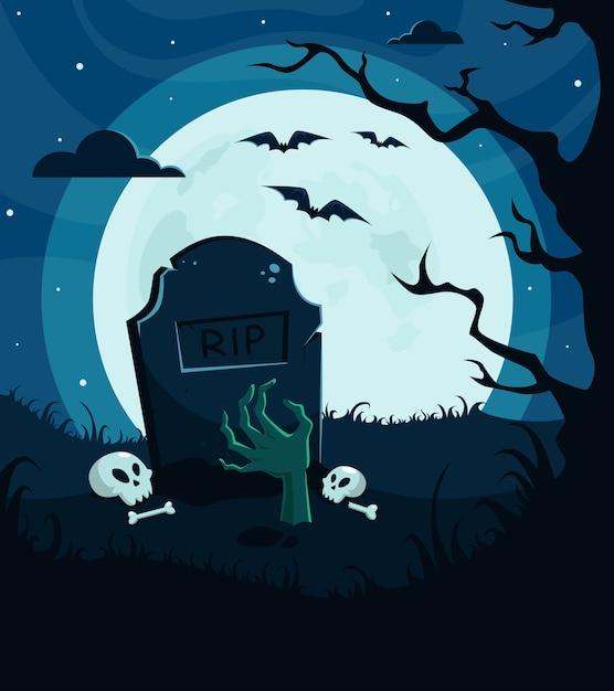 ハロウィーンの背景、招待状。ゾンビの手、満月、木、怖い夜の墓地。 Premiumベクター