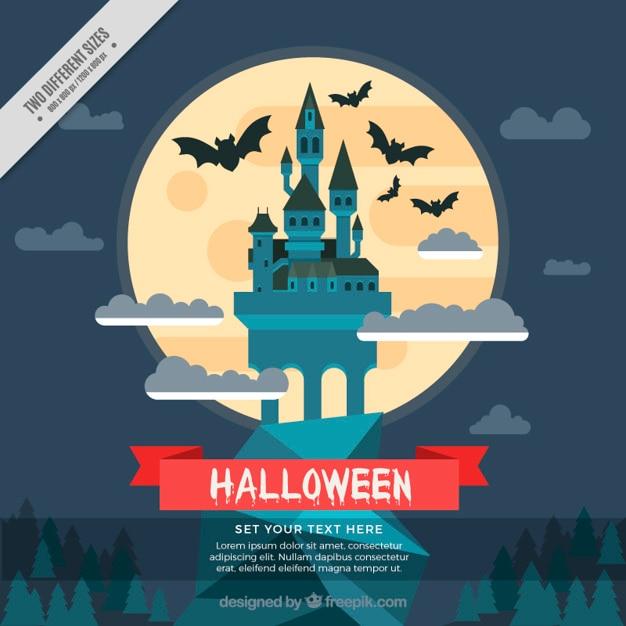 Halloween background of castle in flat\ design